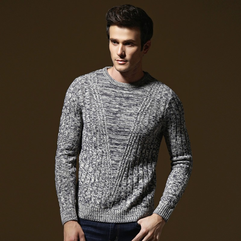 Men's Winter Casual Long Sleeve Knitting Solid Color Sweaters Tops Blouse Solid Color O-Neck Pull Homme Cotton Pullover 9.25