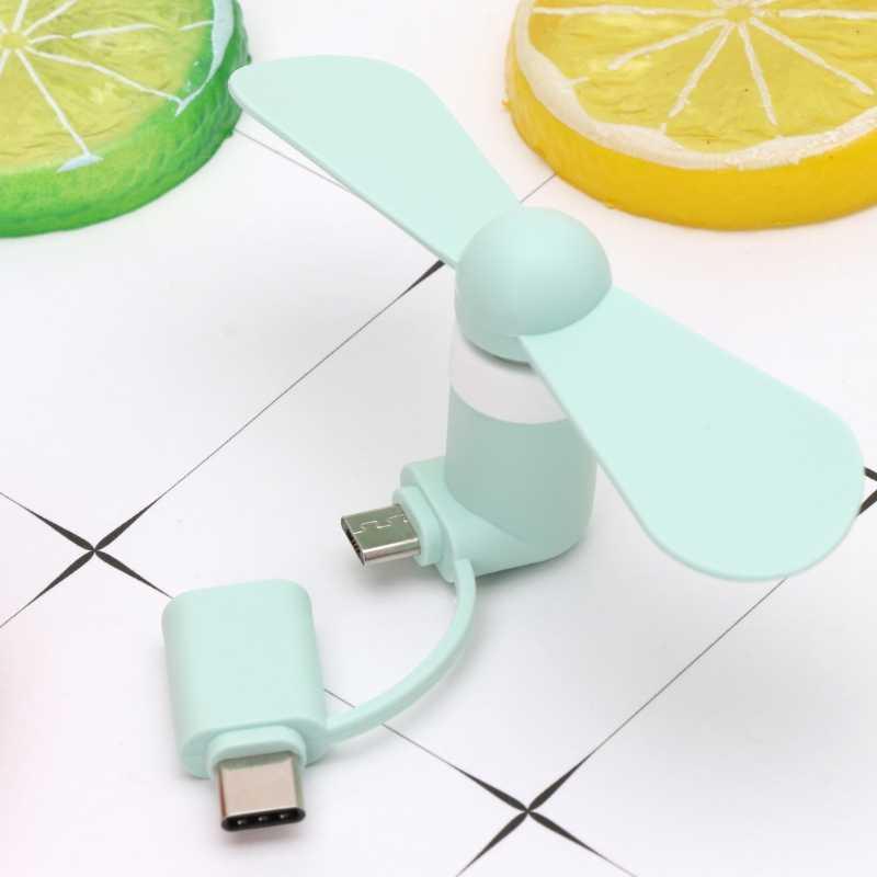 2in1 نوع C مايكرو مروحة USB صغيرة برودة لسامسونج شاومي هواوي HTC هاتف محمول