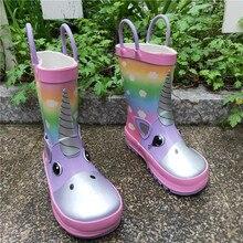 Botas de lluvia de unicornio para niños, botas de goma impermeables, zapatos con estampado de dibujos animados, antideslizantes para bebé