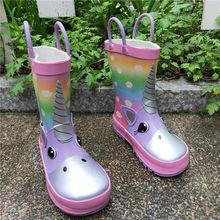 Bottes de pluie licorne pour enfants, chaussures en caoutchouc imperméables pour garçons et filles, imprimé dessin animé, antidérapantes, nouvelle collection