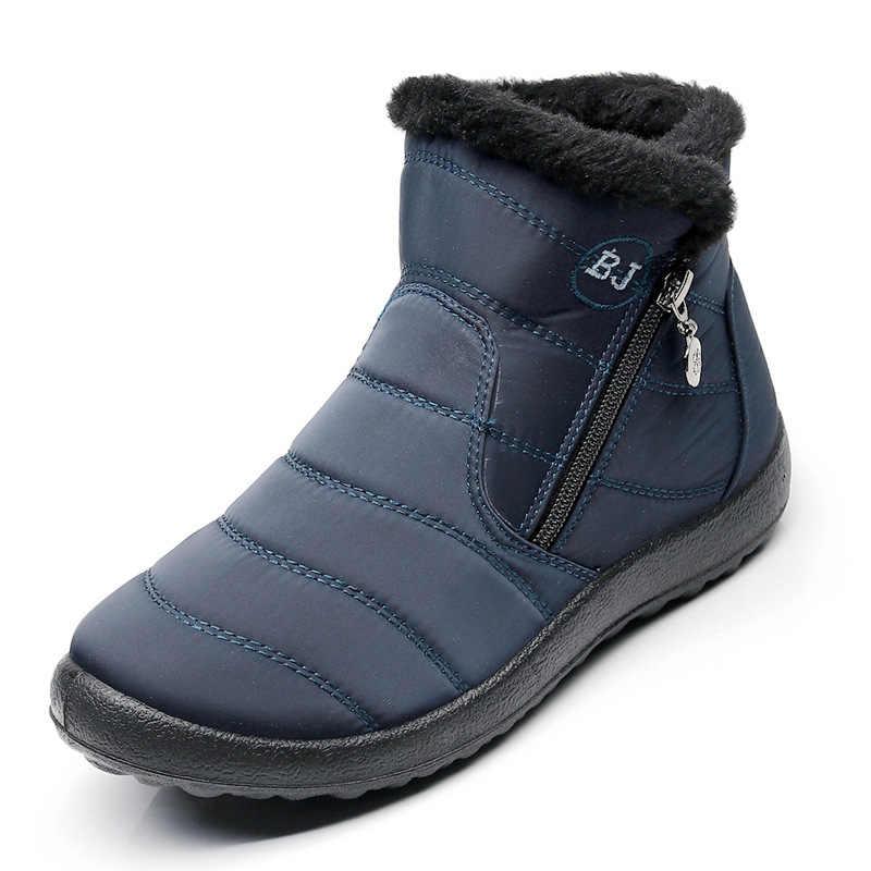 Kadın Kar Botları Peluş Ile Kadın Botları 2019 Kış Ayakkabı Botas Mujer Su Geçirmez Artı Boyutu 43 Kış Çizmeler Kadın patik