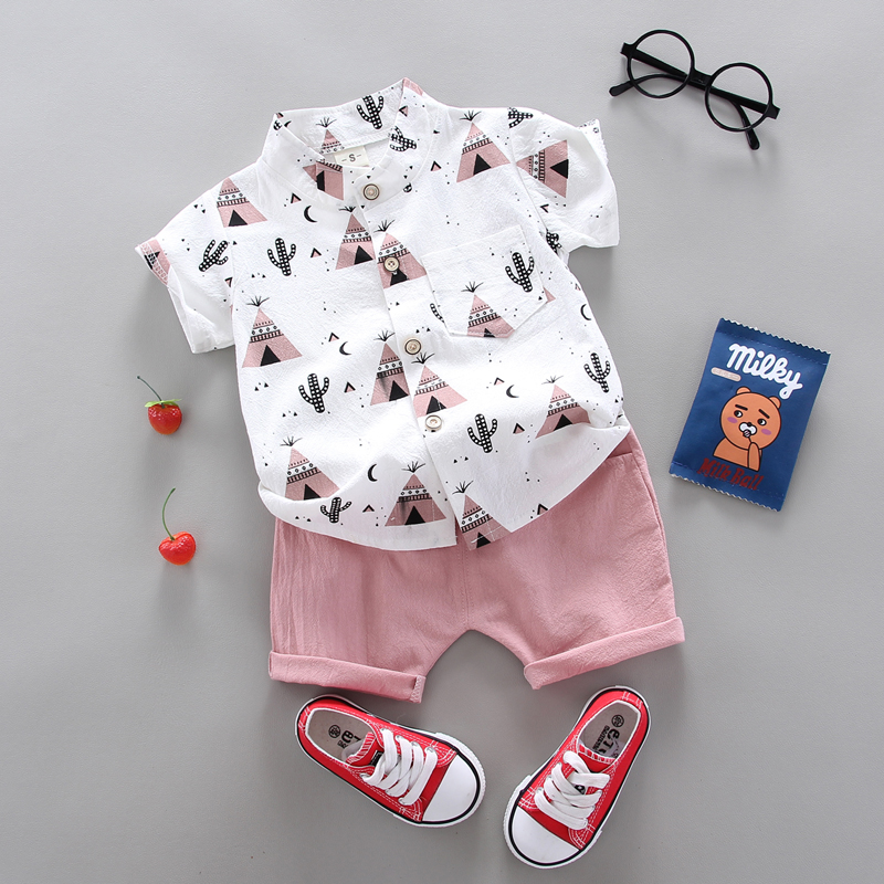 summer Children's suit Clothes Sets  children's clothing  Boys and girls Short sleeve shirt and Pants 2 pieces Clothing sets 2