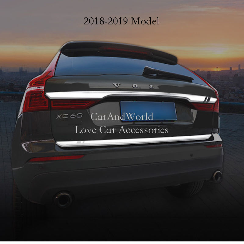 Stainless Steel Car Rear Trunk Cover Trim Decoration Tailgate Frame Garnish Strip for <font><b>Volvo</b></font> <font><b>XC60</b></font> 2011 2018 2019 Auto <font><b>Accessories</b></font> image