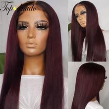 Topodmido peruano cabelo escuro vermelho 99j ombre cor perucas da frente do laço 13x6 em linha reta cabelo humano remy frente laço peruca sem cola