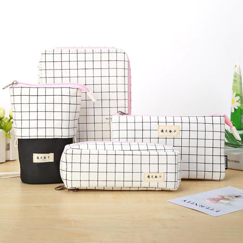 Simple Cosmetic Storage Bag Lattice Canvas Large Capacity Stationery For Student Vertical Feeling High Wear Resistance