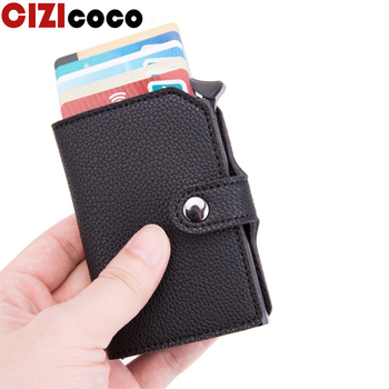 Men Credit Card Holder Business ID card holder Fashion Automatic RFID Wallet Card Case Aluminium Card Holder Wallets porte carte men women leather credit card holder case card holder wallet business card female wallet purse luxury clutch wallets