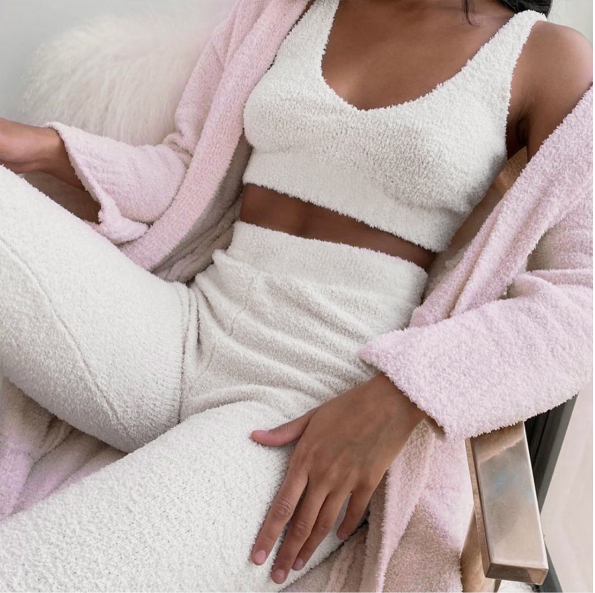Women 2 Pieces Velvet Sleepwear Suit Gym Fitness Clothes Set V Neck Sleeveless Tank Top+Long Pant Fall Casual Tracksuit Homewear