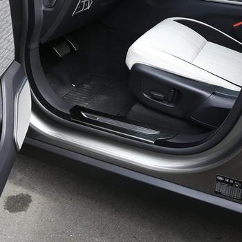 Car 304 Stainless Interior Door Sill Scuff Threshold Plate Trim for Land Rover Range Rover Velar 2017 2018 (Black)