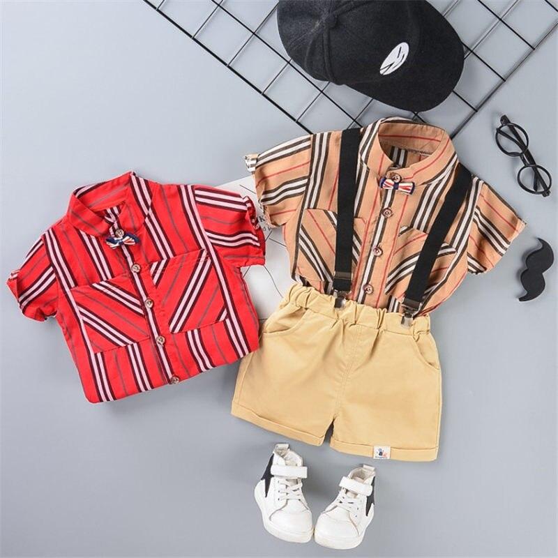 2020 New Short Sleeve Children Gentleman Clothes Baby Boys Striped Tie Shirt Bib Pants 2pcs/sets Kids Infant Fashion Sportswear