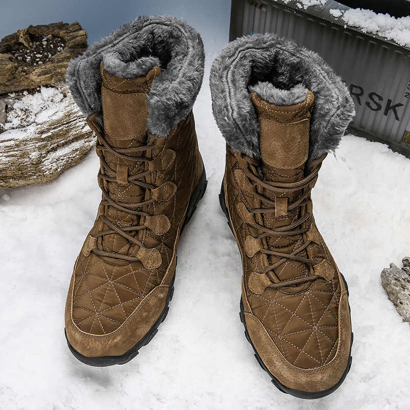 Botas de nieve de goma impermeables de invierno para hombre, botas de combate militar, botas tácticas para hombres, de nueva marca, súper cálidas