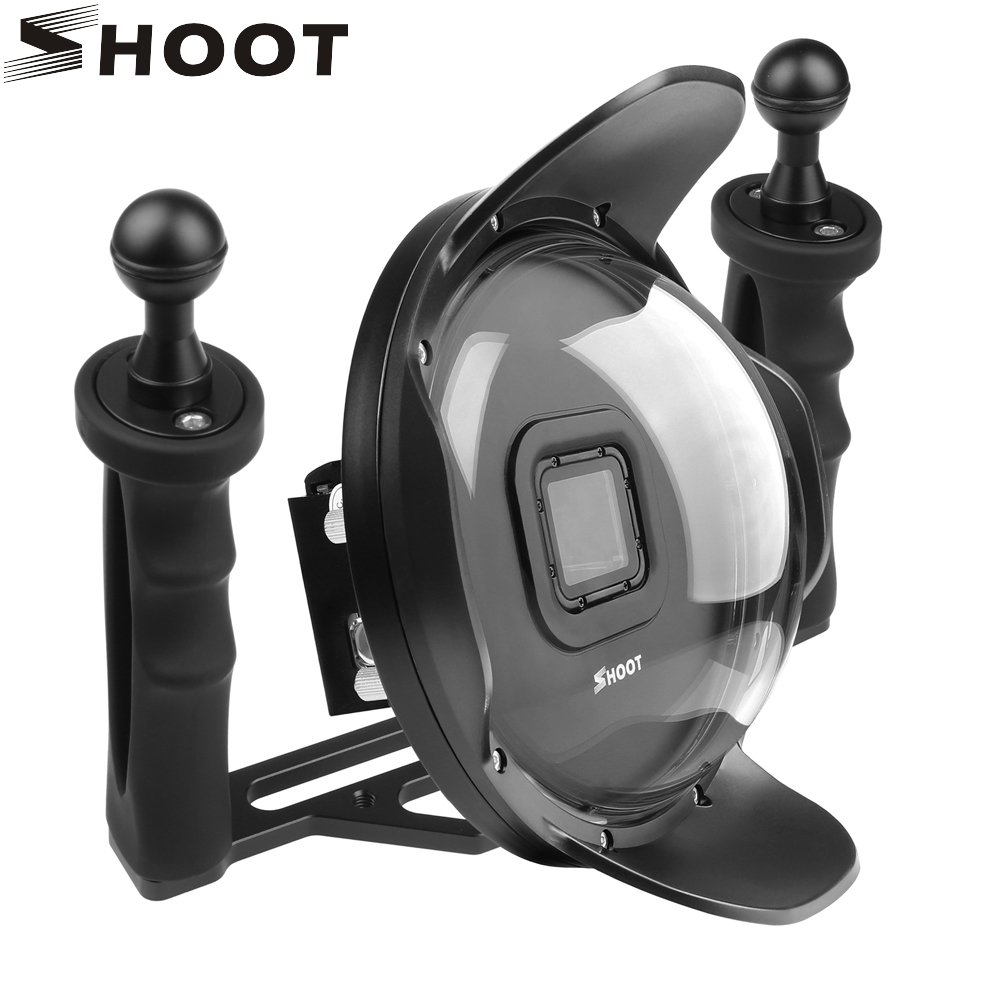 SHOOT 6 Inch Dome Port With Stabilizer Tray For GoPro Hero 7 6 5 Black Waterproof Housing Case Dome Cover For GoPro 7 Accessory