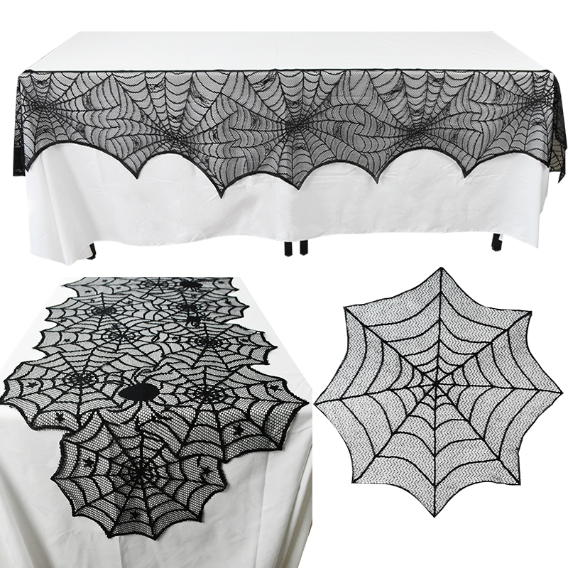 1Pc Black Lace Tablecloth Halloween Spider Web Table Runner Spiderweb Fireplace Mantle Table Cover Mat For Halloween Party Decor