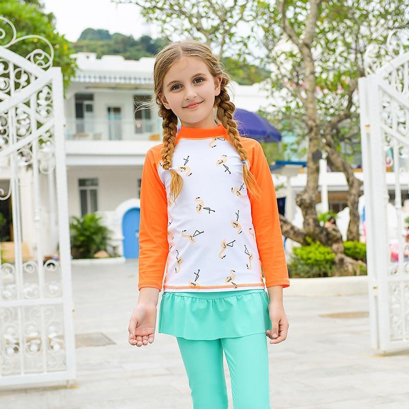 2020 New Style CHILDREN'S Long-sleeve Swimsuit Hem Sun-resistant High Collar Casual Cartoon Printed Flamingo