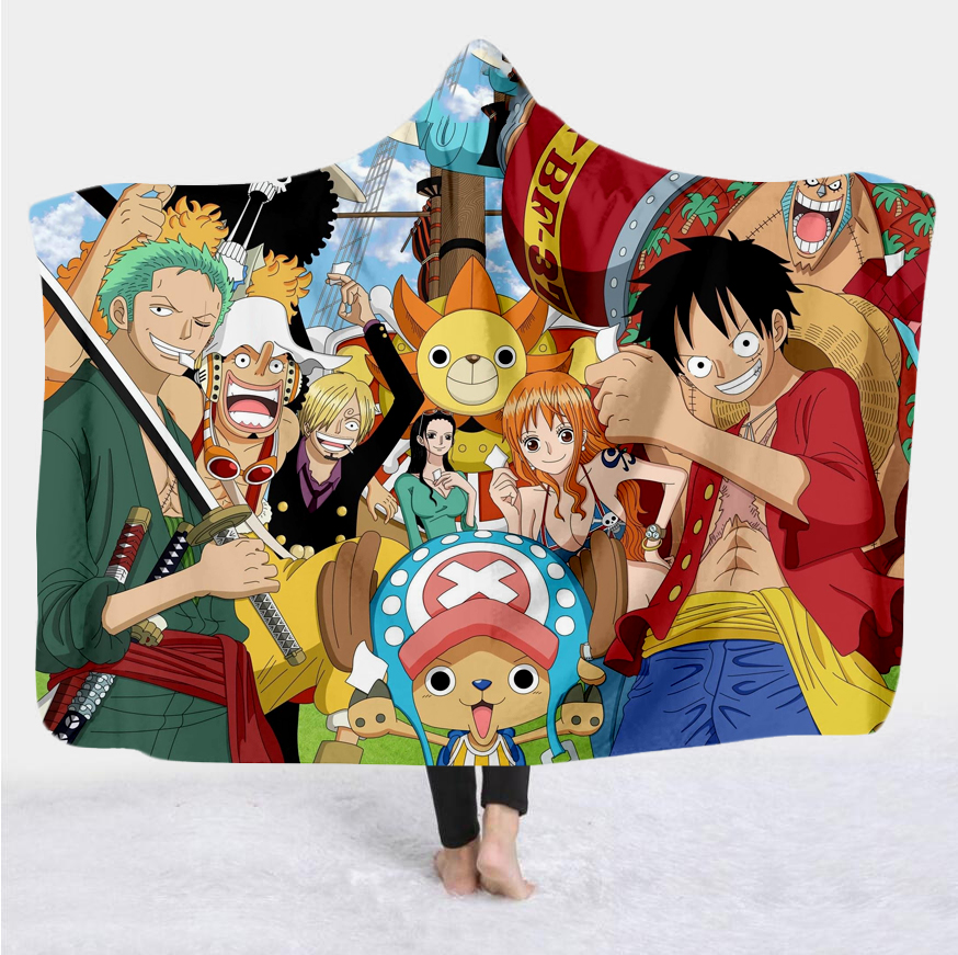 New anime one piece Cartoon Paintings Blanket Blanket Hooded 3D full printing Wearable Blanket Adult men women Blanket style-3