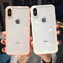 For iphone XS Max 6 6s 7 8 Plus Transparent TPU +PC Hard Clear Protective Phone Case Candy Color Colorful Shockproof