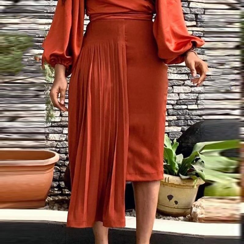 Summer Women Irregular Pleated Skirt 2021 High Waist Bodycon Skirt Ruffle Plus Size Knee Length Evening Party Club