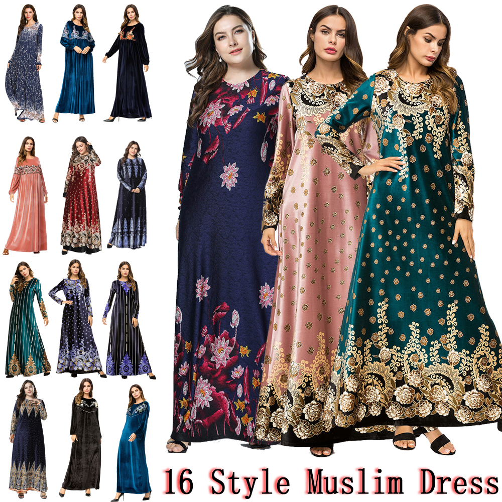 Muslim Women Long Sleeve Dubai Hijab Maxi Dress Arabic Kaftan Abaya Modest Islamic Uae Pakistani Turkey Kimono Jalabiya Dresses image