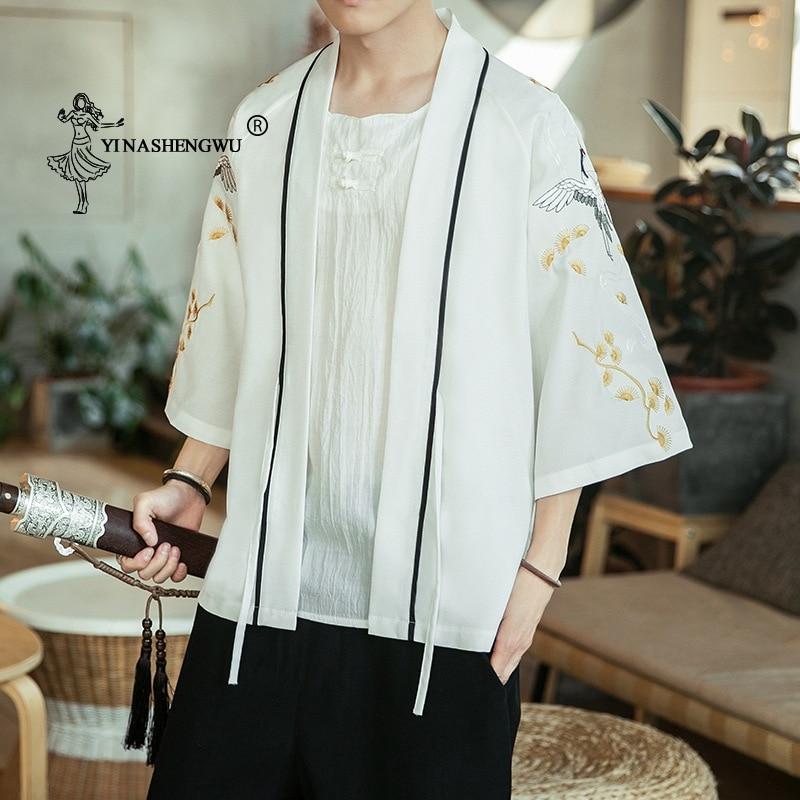 Japanese Kimono Traditional Yukata Kimono Cardigan Men Beach Thin Asian Clothe Male Fashion Casual Cardigan Shirt Kimono Cosplay