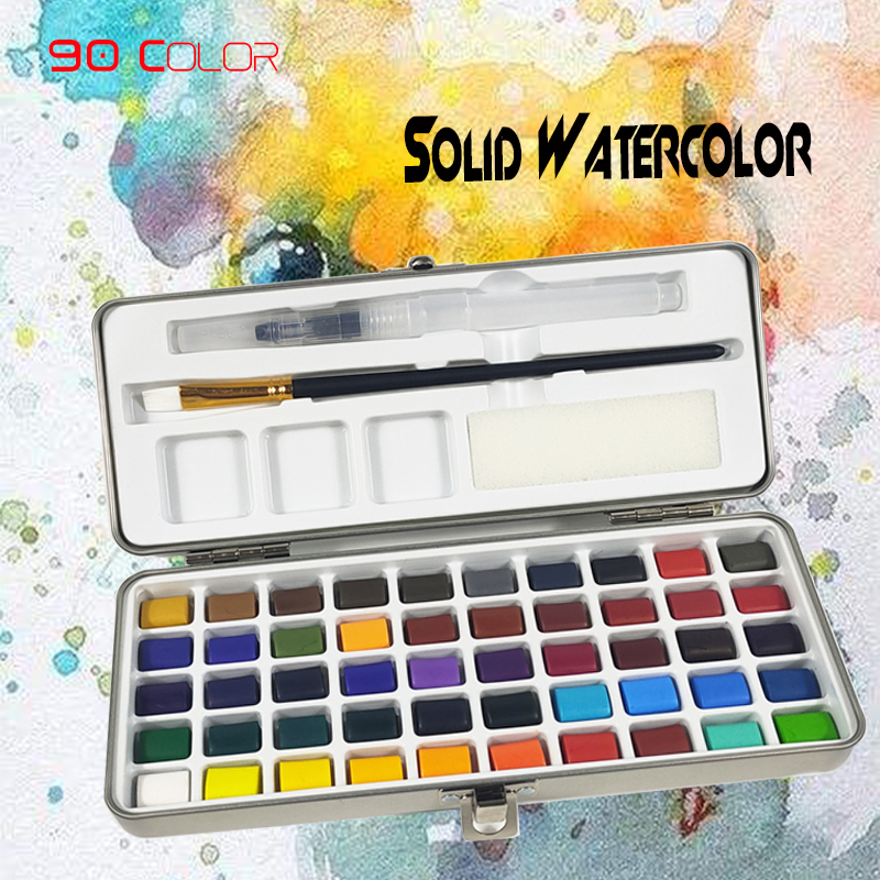 50/72/90 Colors Solid Watercolor Paint Set Portable Metal Box Watercolor Paint For Beginners Painting