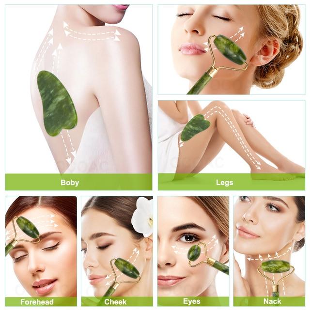2pc jade pedra rolo de massagem facial para rosto natural massager verde guasha raspador conjunto fino elevador beleza emagrecimento ferramentas rolo 6
