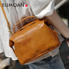 цены EUMOAN Leather art Sen Department Retro Shoulder Bag Handbag Leather Handbag Shoulder Bag Old dumplings