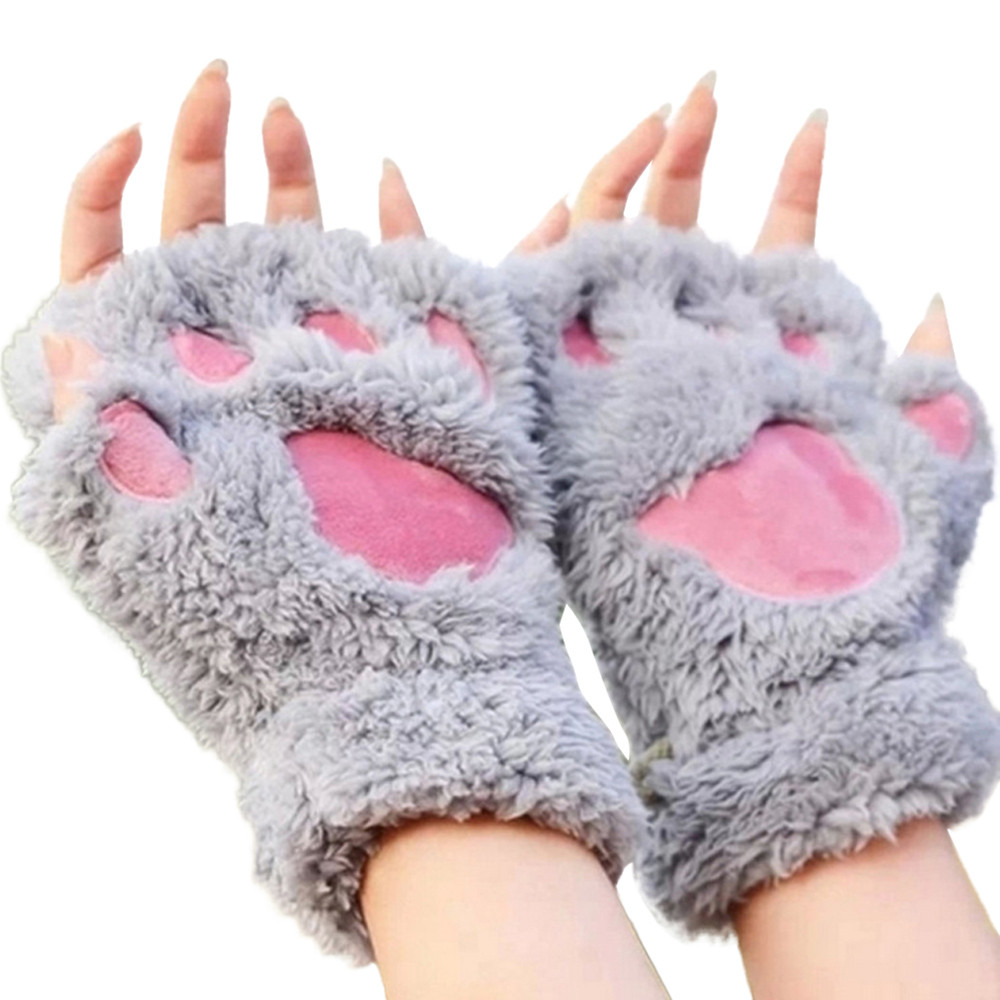 Women Cute Cat Claw Paw Plush Mittens Warm Soft Plush Short Fingerless Fluffy Bear Cat Gloves Costume Half Finger   913#3