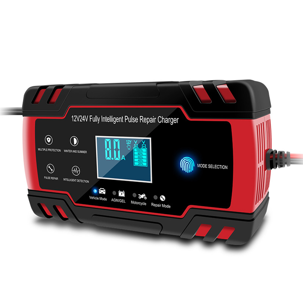Fully automatic <font><b>Car</b></font> <font><b>Battery</b></font> Charger 12V 8A 24V 4A Smart Fast Charging Wet Dry Lead Acid <font><b>Battery</b></font>-chargers Digital LCD Display image