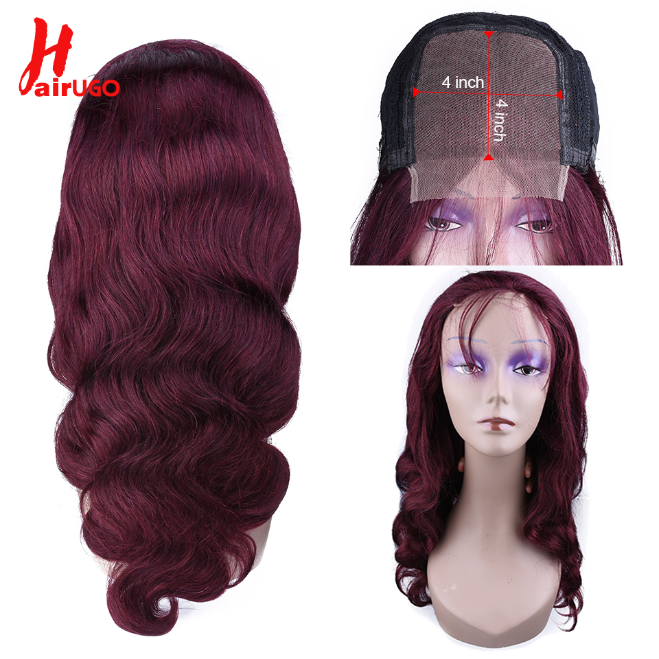 HairUGo 4*4 Lace Closure Human Hair Wig For Women Red 99j Lace Closure Wig Remy Brazilian Body Wave Part Lace Wig With Baby Hair