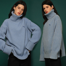 turtleneck knitted sweater 2019 autumn and winter high collar lazy wind women wear loose blue knit