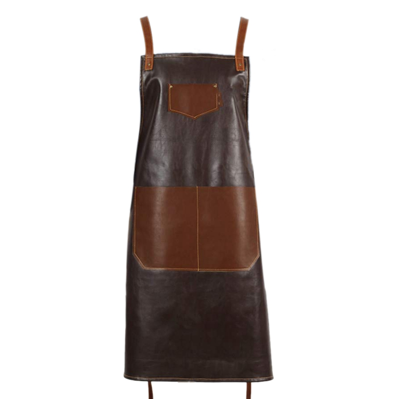 Leather PU Cook Apron Barista Bartender Chef Hairdressing Apron Catering Uniform Work Wear Anti-Dirty Overalls