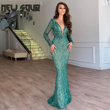 Beading Green Long Dubai Evening Dresses 2020 New Couture Middle East Prom Dress With V Neck Custom Made Saudi Arabia Party Gown