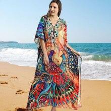 2020 Kaftan plaża długa z bawełny tunika artystyczny nadruk luźna letnia sukienka Plus rozmiar kobiety odzież plażowa narzuta na strój kąpielowy Q1044