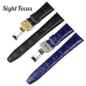 Image 1 - 22mm Mens Blue Watch Band for IWC Calf Leather Watch Strap Alligator Croc Grain CHRONOGRA Bracelet Belt Long Short VersionBand