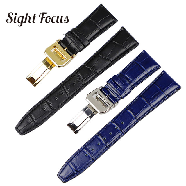 22mm Mens Blue Watch Band for IWC Calf Leather Watch Strap Alligator Croc Grain CHRONOGRA Bracelet Belt Long Short VersionBand