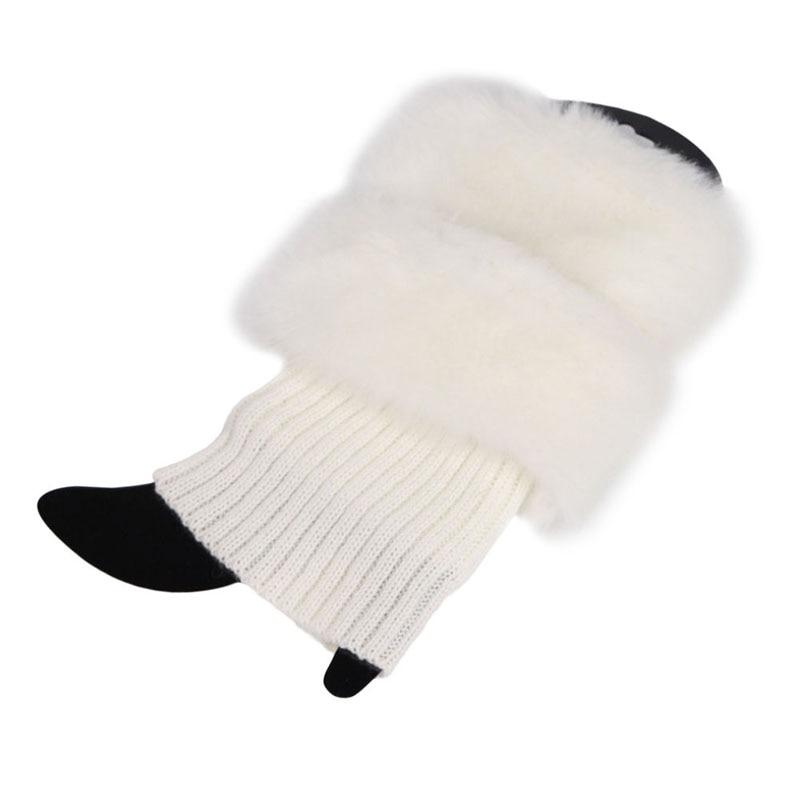 Womens Winter Warm Crochet Knit Fur Trim Leg Warmers Cuffs Toppers Boot Socks QX2D