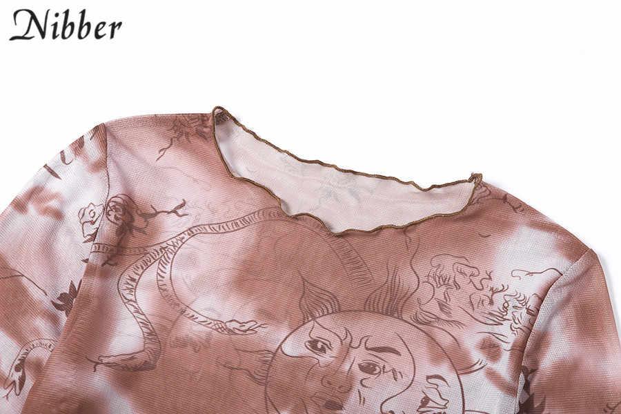 Nibber casual grundlegende Mesh drucken top frauen T-shirts 2019 herbst mode Rüschen sexy sehen-durch stretch Dünne t Soft- shirts mujer