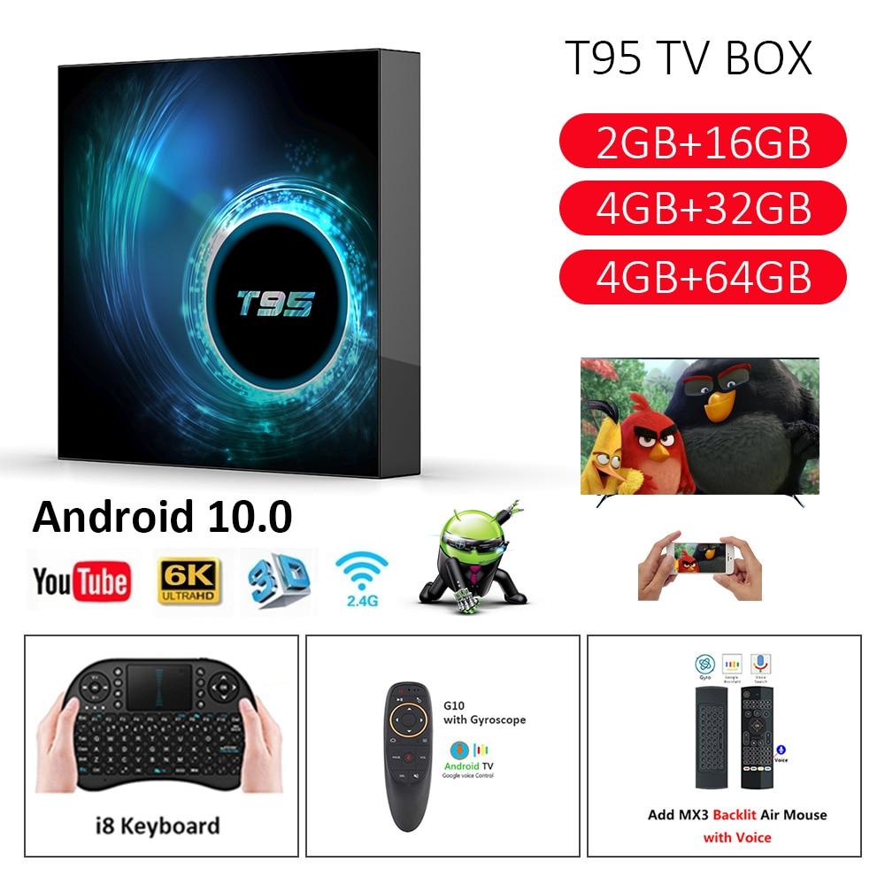 T95 TV BOX Android 10.0 Allwinner H616 Quad Core 4GB 32GB 64GB Wifi 6K Set Top Box Wifi Netflix Youtube  Android TV Media Player
