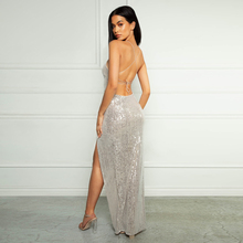 Sexy Green Silver Sequined Maxi Dress V Neck Strappy Lace Up Beige Striped Backless Sleeveless Bodycon Long Party Dress