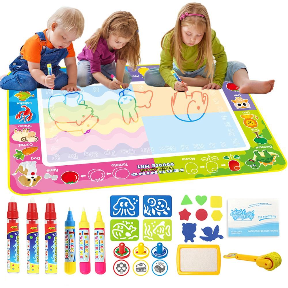 150*100 см детский коврик для рисования на воде 4 волшебных ручки и штампы Набор для рисования коврик доска для рисования обучающие игрушки