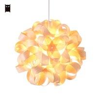 Wood Flower Ball Globe Sphere Pendant Light Fixture Nordic Scandinavian Art Deco Style Hanging Ceiling Lamp Lustre Foyer Design