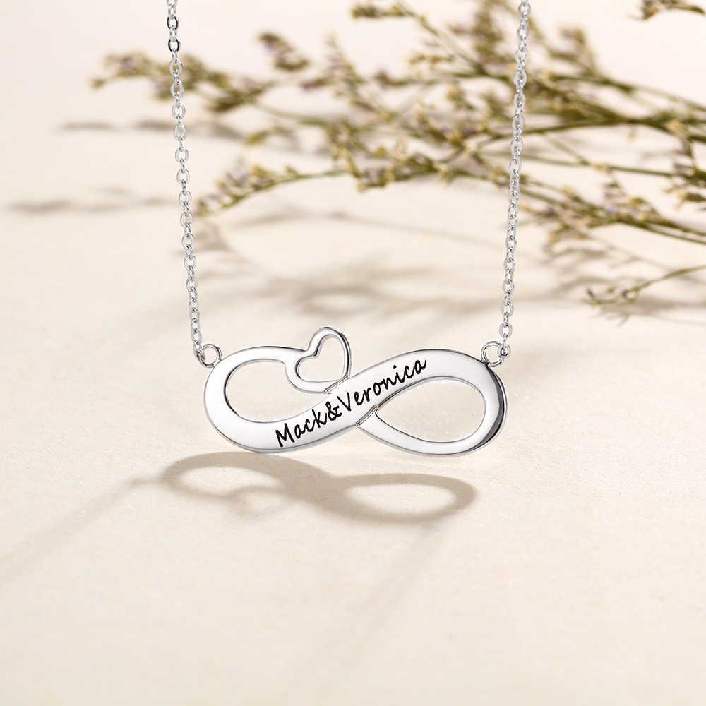 925 Sterling Silver Infinity Cinta Kalung Liontin Wanita Personalized Mengukir 2 Nama Kalung Hadiah Ulang Tahun (Lam Hub Fong)