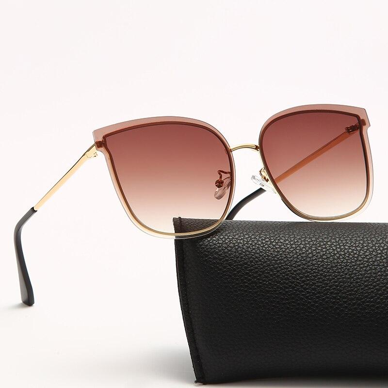 Очки солнцезащитные женские без оправы, модные большие брендовые дизайнерские металлические солнечные очки UV400
