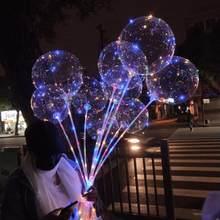 1set LED Light Bubble Balloon Luminous Transparent Bobo Ballons Christmas Tree Heart Unicorn Helium Wedding Birthday Party Decor