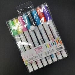 8 kolorów podwójna linia zarys pióro podwójne kolory Marker do pisania kart rysunek DTT88
