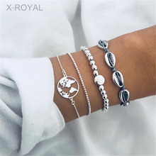 X-ROYAL 4Pcs/set Summer Fashion Shell Chain Bracelets Silver Map Charm 20+5cm Beads Lobster Clasp Extended