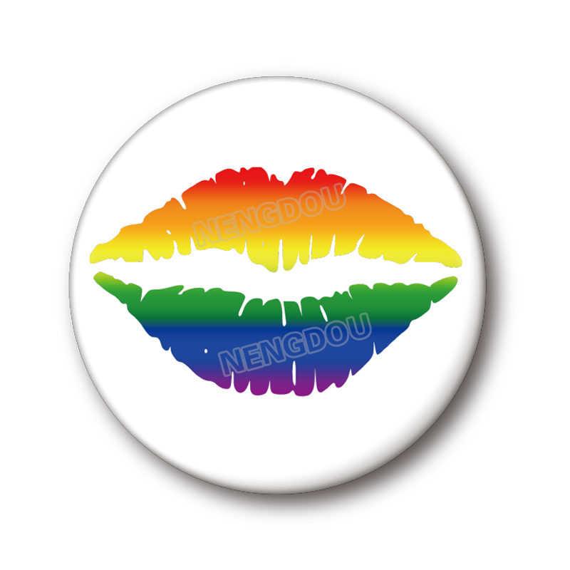 Nengdou T29 Lgbt Badge Pride Regenboog Vlag Ronde Pictogrammen Gay Lesbische Biseksueel Transgender Pansexual Aseksuele Symbool Pin Rozet Broche