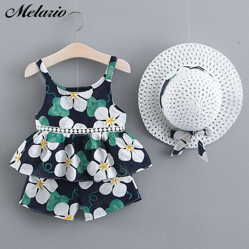 Toddler melario summer girls clothes set bohemian girl suit kids floral vest shorts with hat 3pcs suit splicing sundress princess suit