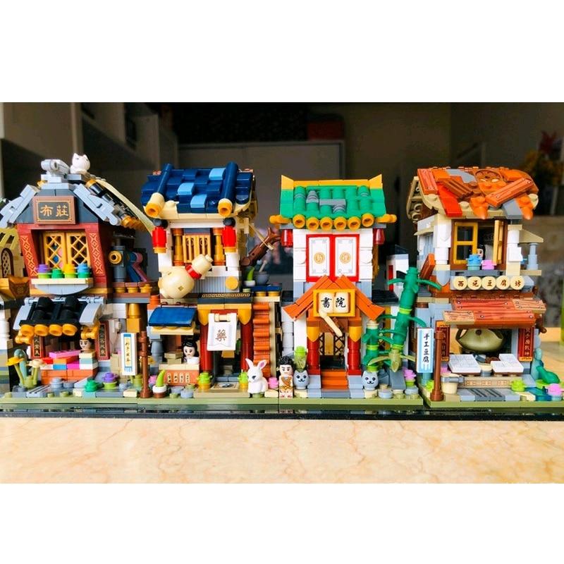 LOZ 1734 Architecture City Street Chinatown Cloth Store Mini Blocks Building Toy