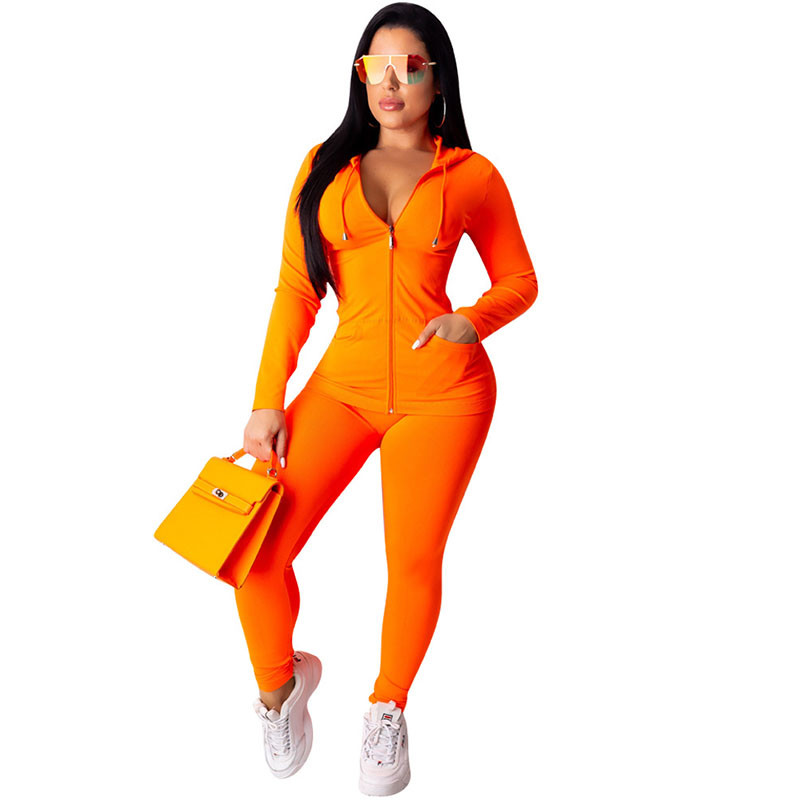 Neon Green Orange Women Two Piece Sets Long Sleeve Zipper Hooded Sweatshirt Tops And Tight Pants Female Jogger Casual Sweatsuit