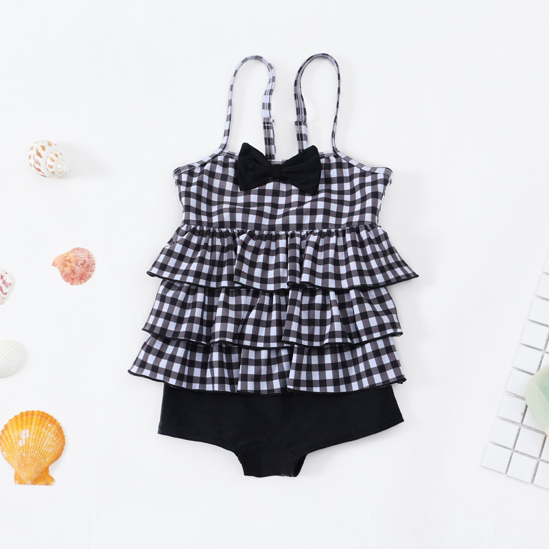 2019 New Style Hot Sales KID'S Swimwear One-piece Plaid Triangular Camisole Bow Infant GIRL'S Swimsuit